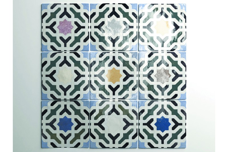 Swatch of multi colour tile
