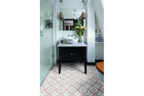Pink floral decor tile in bathroom