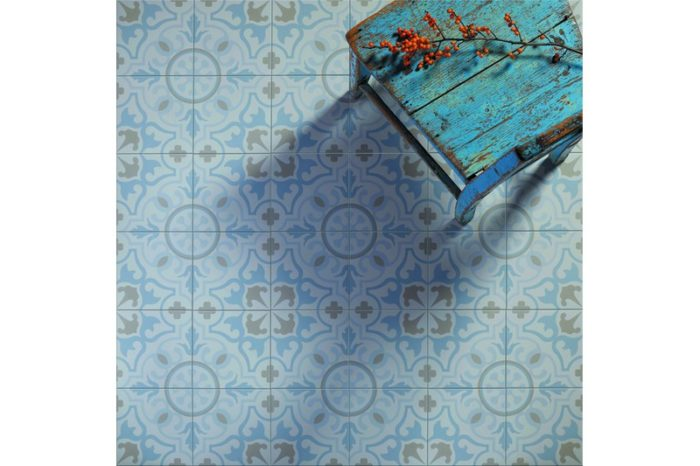 blue and grey decorative tile in situ