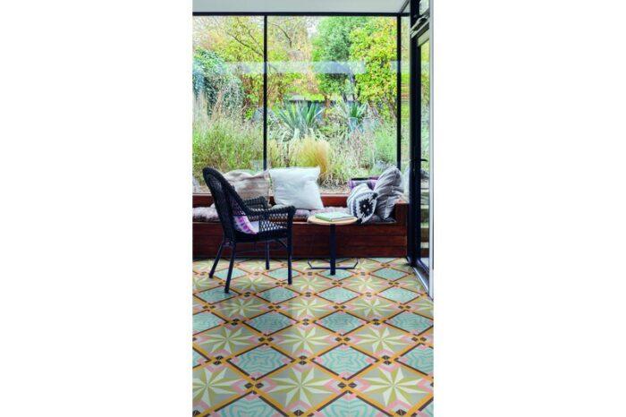 Funky cuban style tile on floor