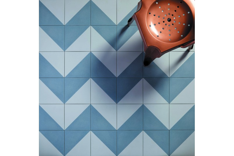 blue and white decorative tile in situ