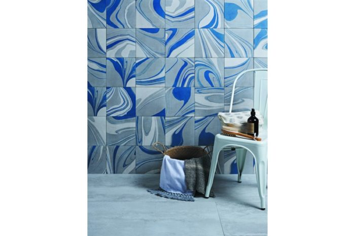 Blue marbled tile in situation