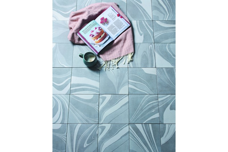 grey marbled tile in situ