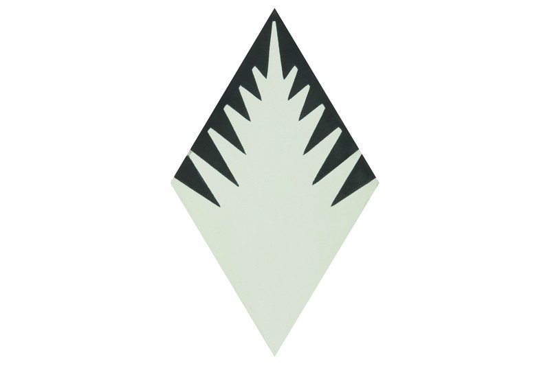 Fern style diamond shaped cream tile swatch