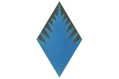 Fern style diamond shaped blue tile swatch