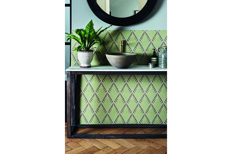 Fern style diamond shaped sage tile swatch
