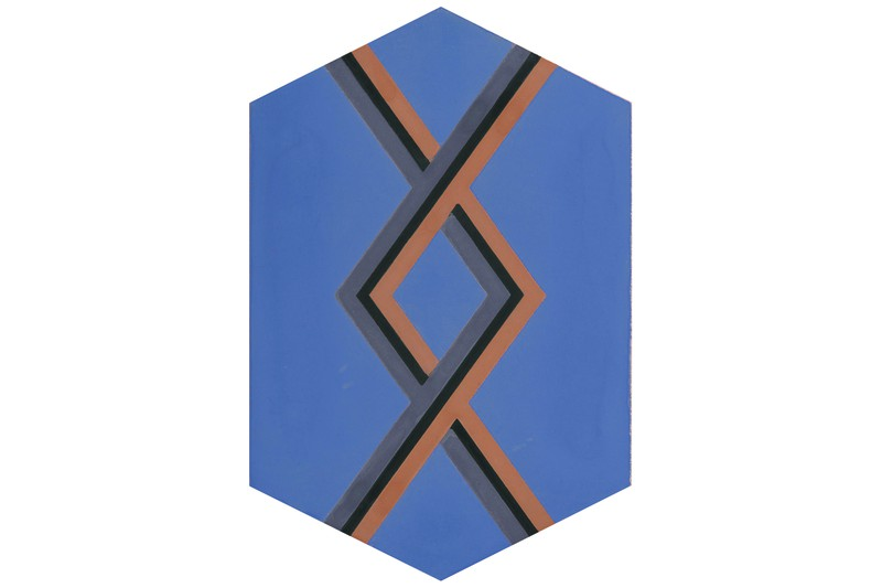 Hexagon with woven style blue swatch