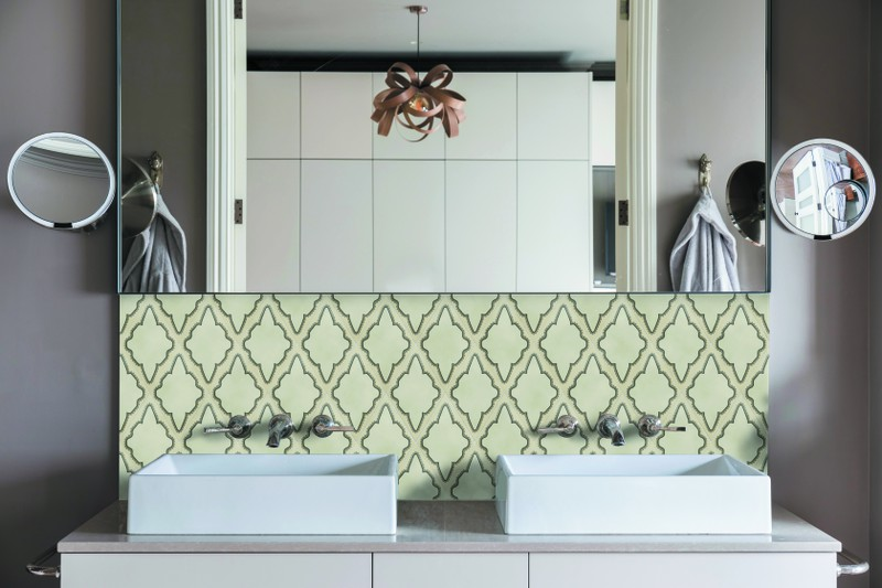 Diamond shaped tile grey in colour in situ