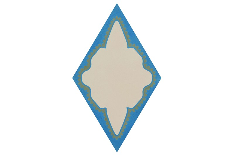 Diamond shaped tile blue in colour swatch