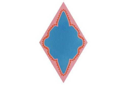 Diamond shaped tile orange and blue in colour swatch