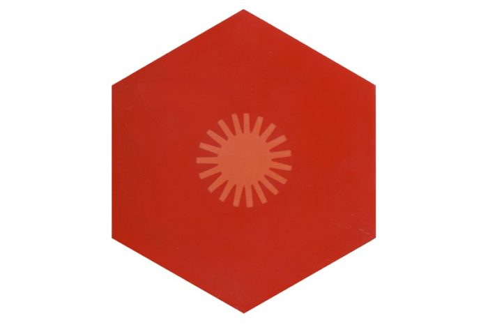 Hexagon tile red with sun patch swatch