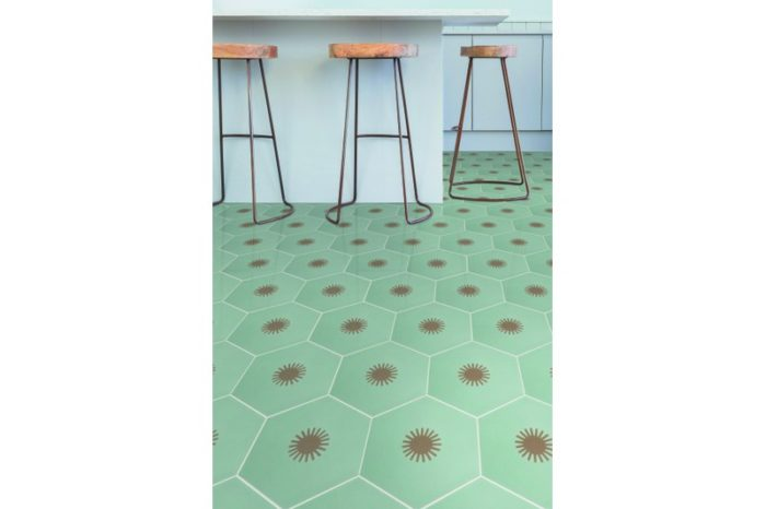 Hexagon tile grey and brown with sun patch in situ