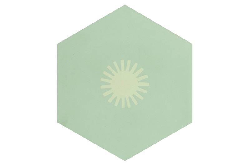 Hexagon tile grey with sun patch swatch