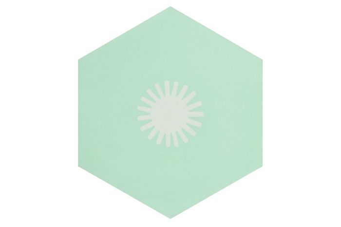 Hexagon tile pistachio with sun patch swatch