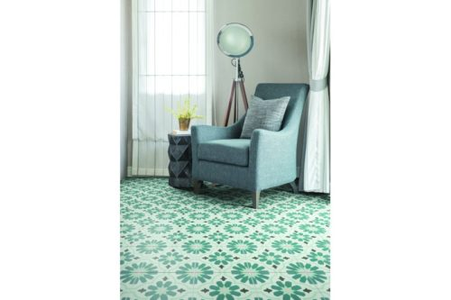 Teal floral shaped tile in situ