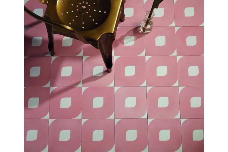 Eye design pink tile in situ