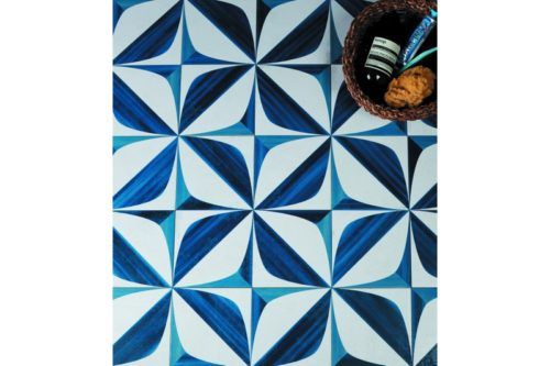 blue and white spanish style decorative tile in situ