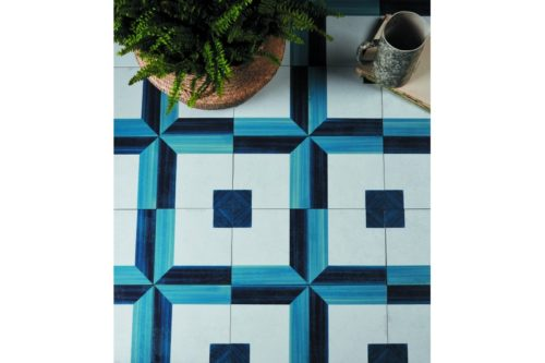 blue and white spanish style decorative tiles in situ