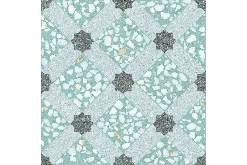 Speckled green decor tile swatch