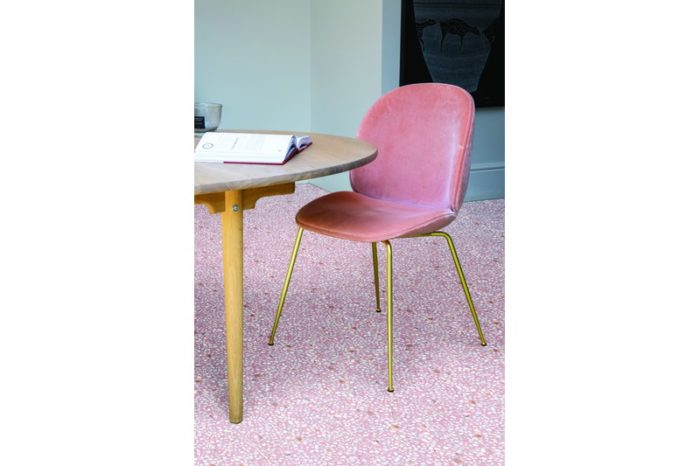 Speckled pink tile in situ