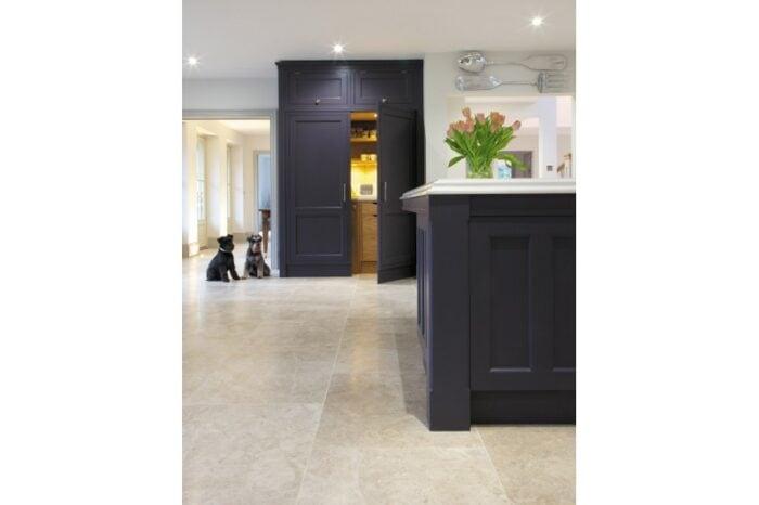 Cream and beige limestone in a kitchen situ
