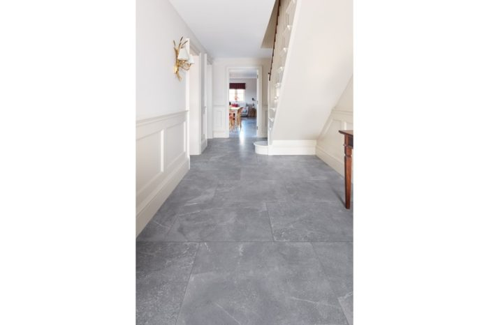 Black stone effect tile in hallway setting