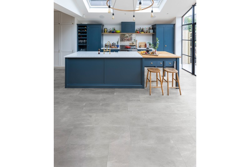 Grey stone effect tile in kitchen setting