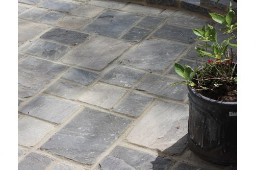 dark grey cobbled patio