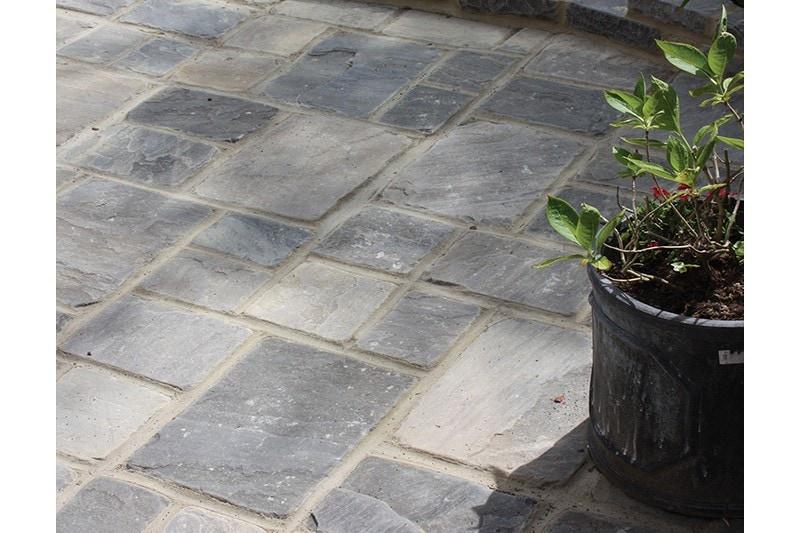 dark grey cobbled patio