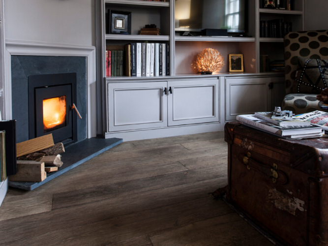 cosy living room with a wood burning stove