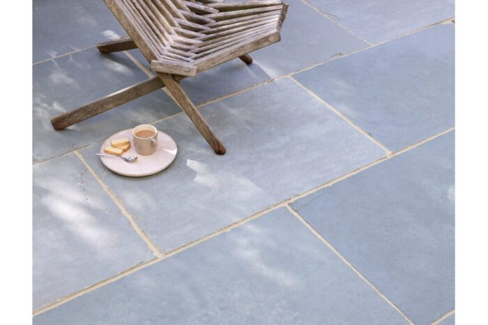 limestone paving in situ with chair in background