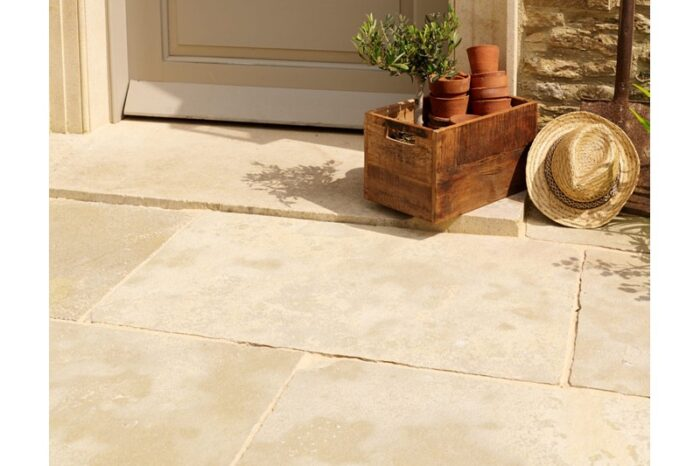 limestone paving in situ with step in background