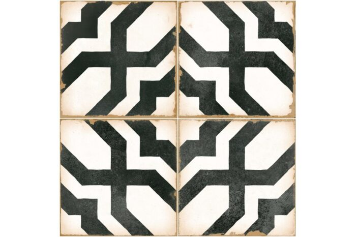 black and white woven design decorative tile swatch