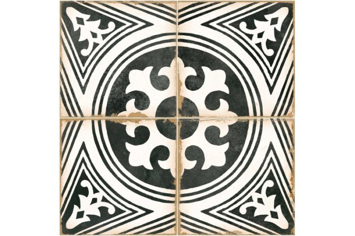 black and white decorative tile swatch