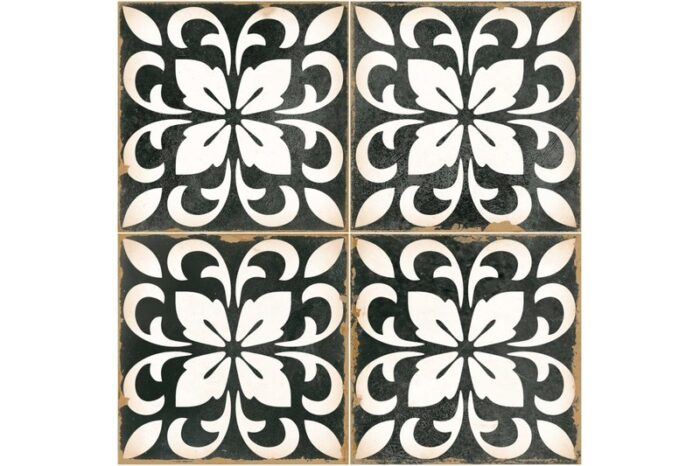 black and white flower decorative tile swatch
