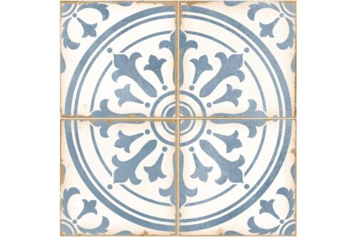 blue ornate decorative tile swatch