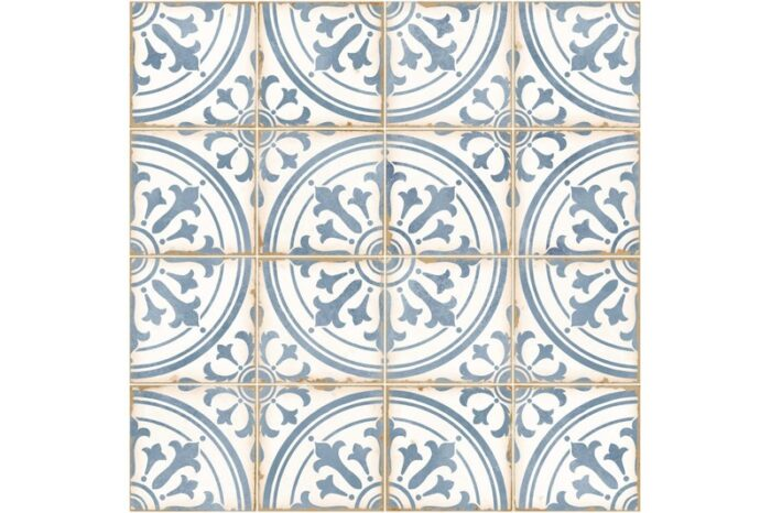 blue ornate decorative tile swatch