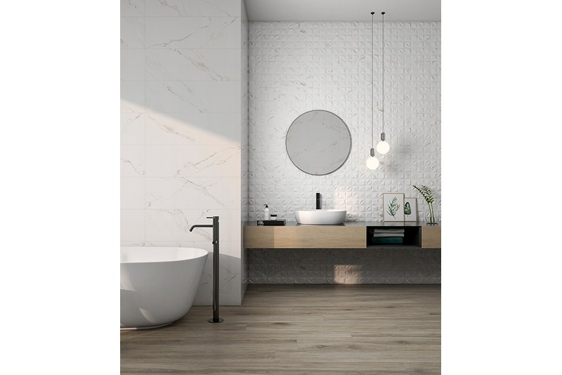 marble effect diamond textured ceramic tile in a bathroom