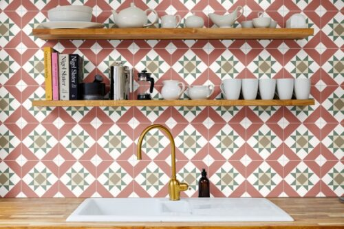red, white and green decorative as a splashback