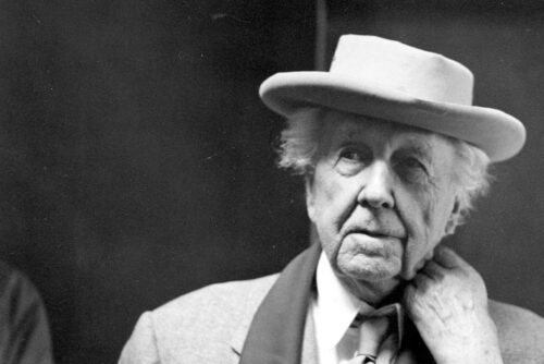 black and white picture of Frank Lloyd Wright