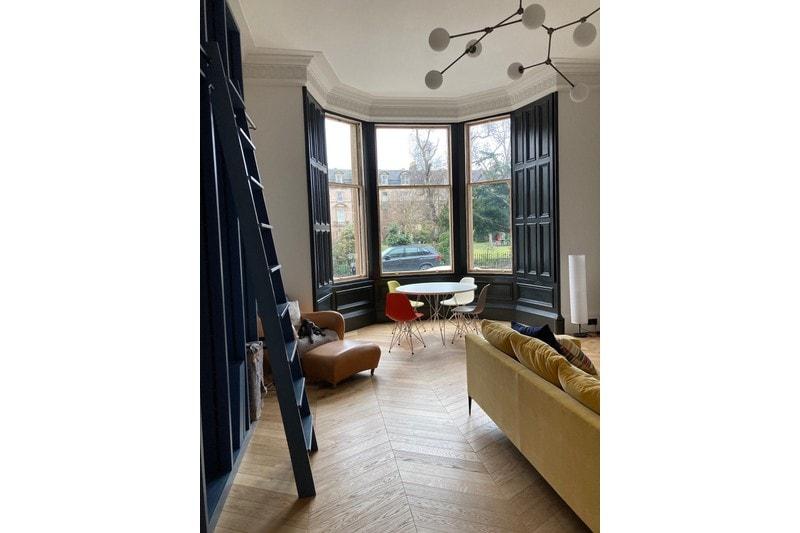 oak chevron flooring in living room