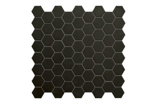 black hexagon mosaic swatch