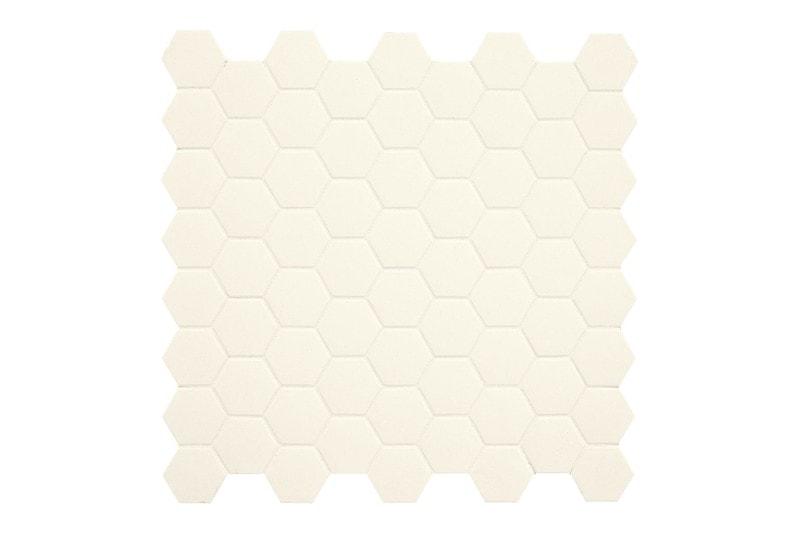 white hexagon mosaic swatch