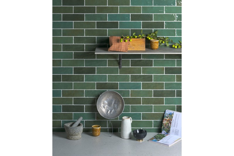 green wall tiles in kitchen