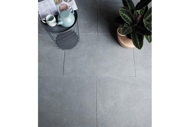 dark grey limestone in a boot room setting
