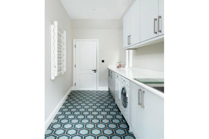 blue retro tile in kitchen