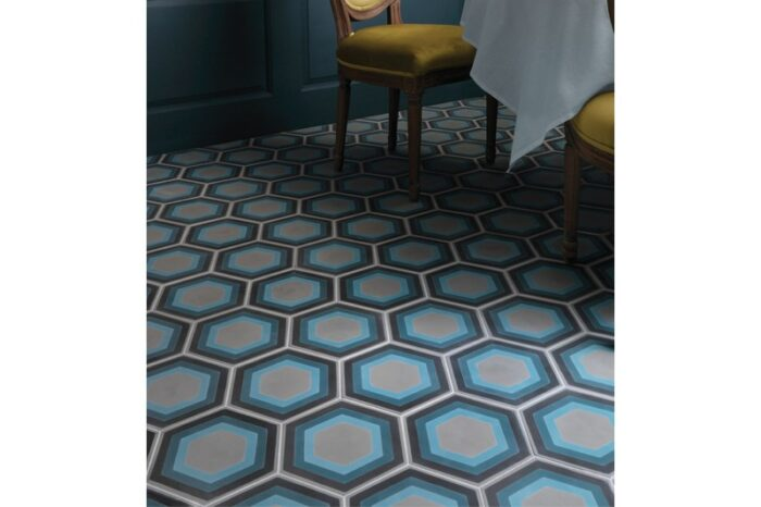 blue retro tile with table in background