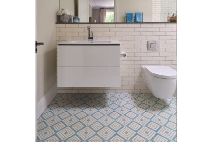 light blue retro tile in bathroom