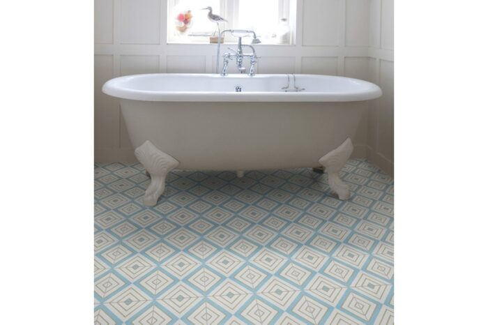 light blue retro tile in bathroom with bath